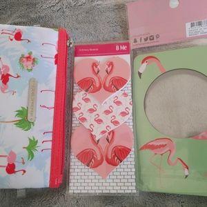 Flamingo Set Makeup Bag Nail Filers Photo Frame